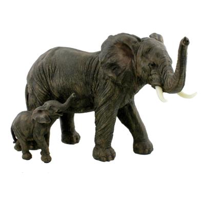 RESIN MOTHER & BABY ELEPHANT 20CM