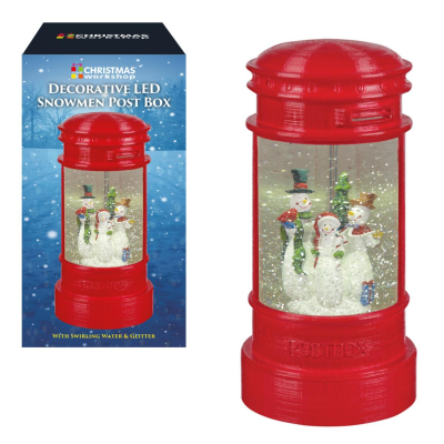 LED SNOWMAN POSTBOX SWIRLING GLITTER