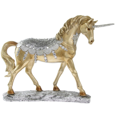 RESIN UNICORN STANDING LARGE GOLD / SILVER