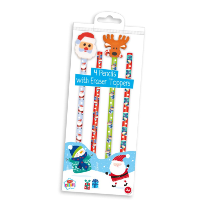 XMAS 4 PACK OF PENCILS WITH NOVELTY ERASERS