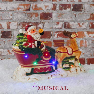MUSICAL SANTA & REINDEER SLEIGH L/UP LED