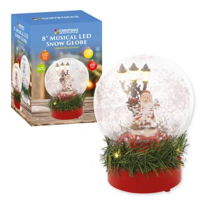 SNOWGLOBE MUSICAL LED 8""