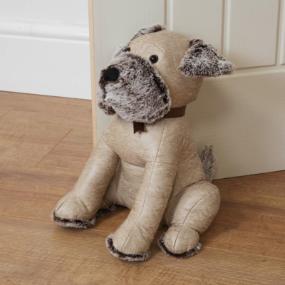 DOG FAUX LEATHER DOOR STOP