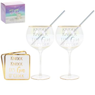 GIN GLASSES/COASTERS SET OF 2