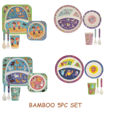 BAMBOO 5pc EATING SET ASSTD