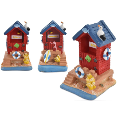 RESIN BEACH HUT ORNAMENT 7.8cm (48) *