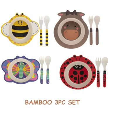 BAMBOO BOWL / SPOON / FORK SET ASSTD