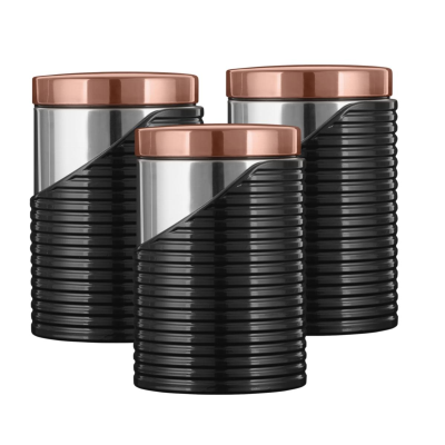 LINEAR 3PC CANISTER SET ROSE GOLD
