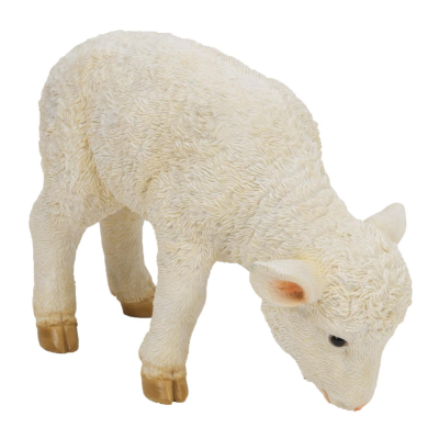 RESIN GRAZING LAMB FIGURE