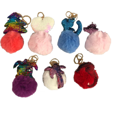 KEYCHAIN POM POM AND SEQUIN ITEM