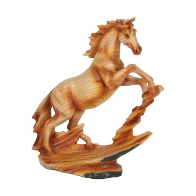 WOOD EFFECT REARING HORSE FIGURE