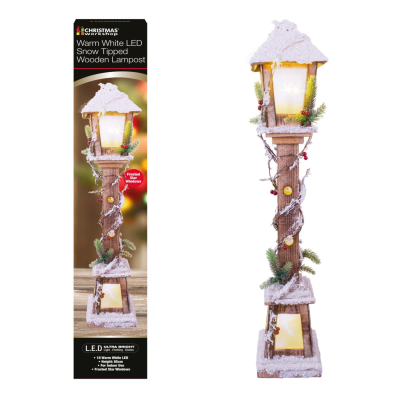 LED SNOW TIPPED WOODEN LAMPOST