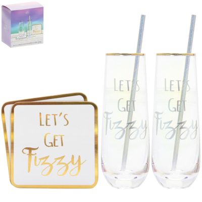 STEMLESS FLUTES/COASTERS SET OF 2