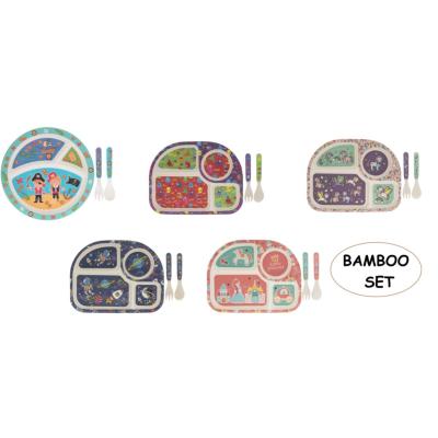BAMBOO PLATE / SPOON / FORK SET ASSTD
