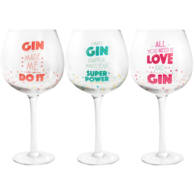 GIN GLASS WITH SAYINGS 3 ASSTD