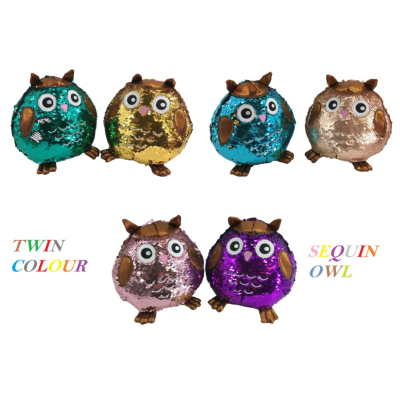 PLUSH OWL SEQUIN ASSORTMENT 18CM