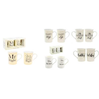 GIFT SET COUPLES MUGS ASSTD PACK OF 2