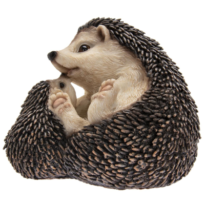 RESIN HEDGEHOG WITH BABY