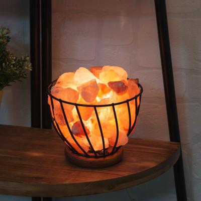 HIMALAYAN ROCK SALT FIRE EFFECT BASKET LAMP