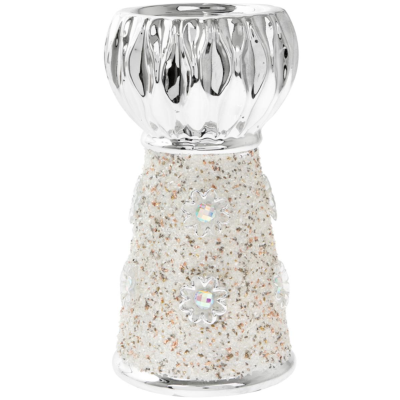 RESIN SILVER ART CANDLE STICK 15cm