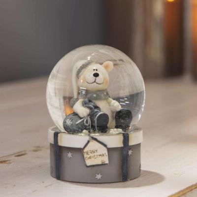XMAS TEDDY BEAR SNOW GLOBE ASSTD