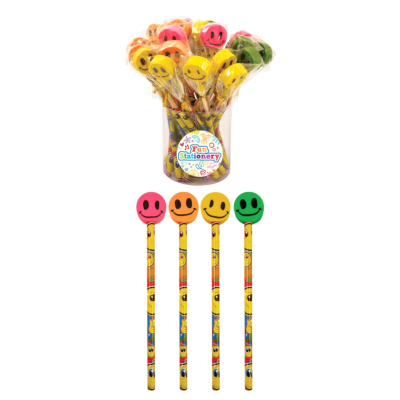 PENCILS WITH ERASER TOP SMILE ASSD (144)
