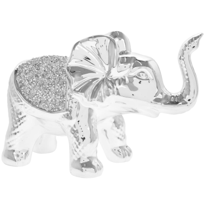 SILVER SPARKLE STANDING ELEPHANT