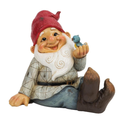 GARDEN GNOME WITH BIRD ON HAND