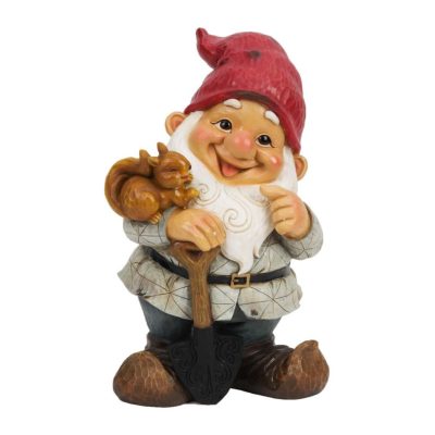 GARDEN GNOME WITH SQUIRREL STANDING