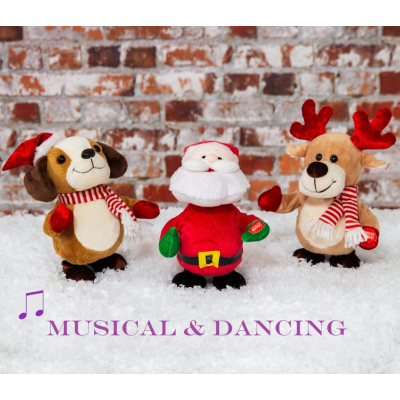 MUSICAL ANIMATED SANTA/REINDEER/DOG