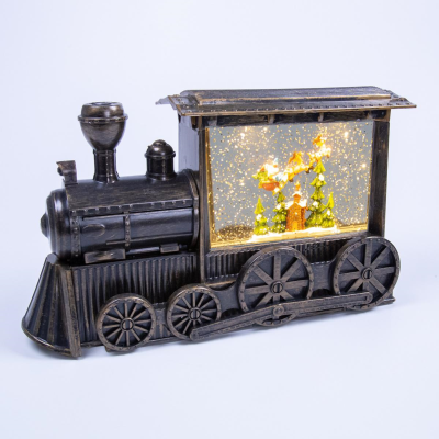 LED GOLD ANTIQUE TRAIN WITH SANTA